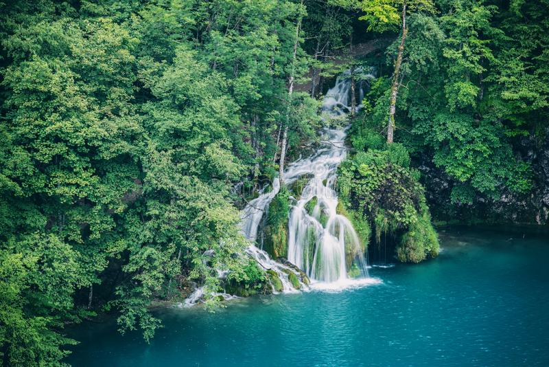 Plitvice Lakes National park, beautiful landscape with waterfalls, lakes and forest, Croatia royalty free stock photos