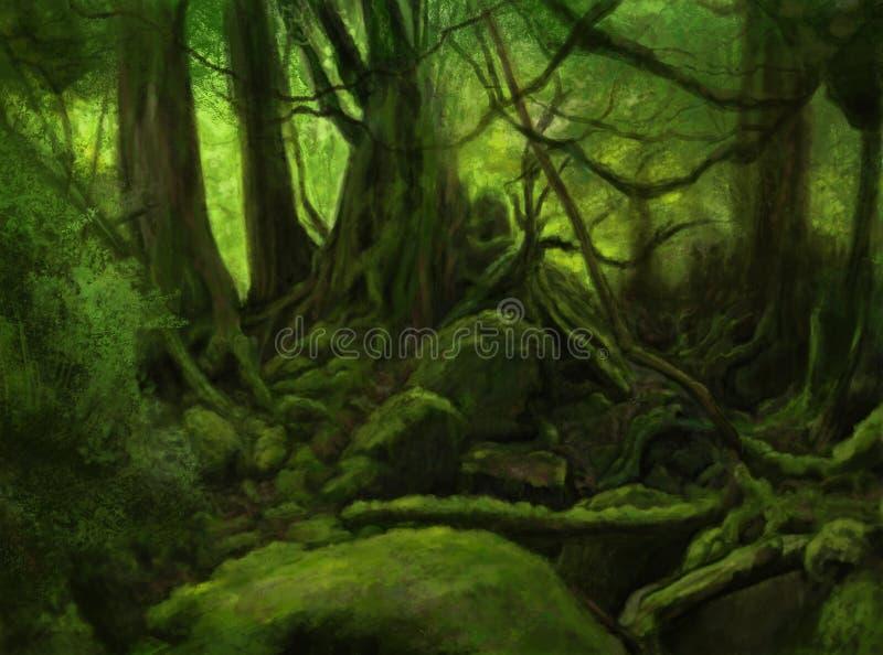 Green forest landscape. Wild forest painted, green landscape stock illustration