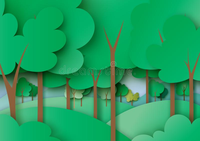 Green forest and nature landscape background paper art style. Ecology and environment concept with green forest and nature landscape background paper art vector illustration