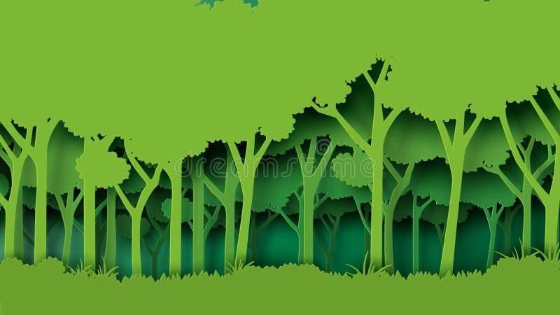 Green forest paper art style stock illustration