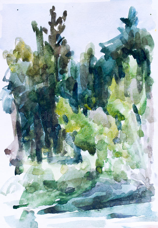 Green forest, watercolor painting stock photo