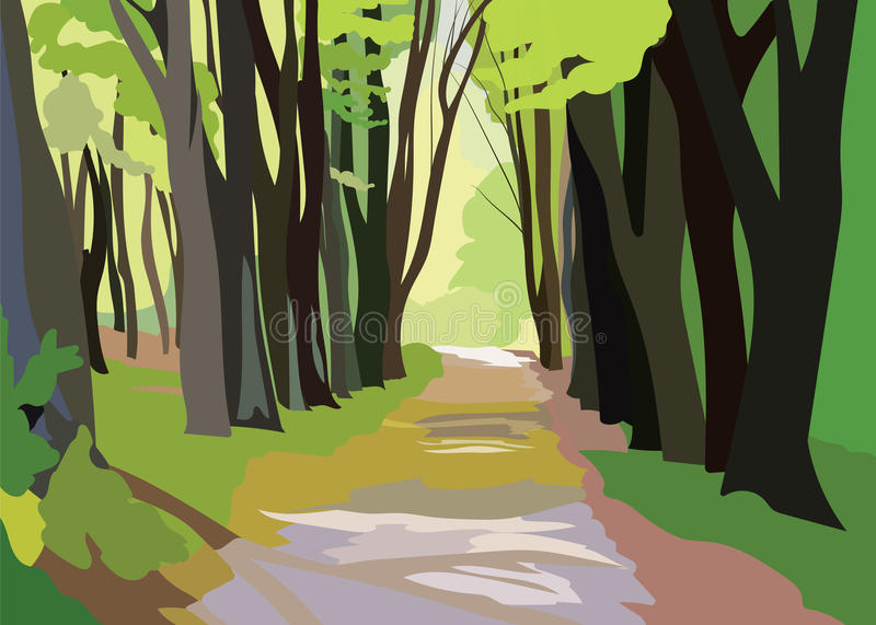 Green Forrest Trees Vector. Forrest woods background with perspective walking path road vector illustration