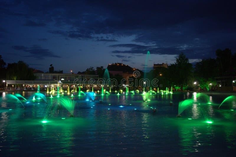 Green fountains. Plovdiv city park green illuminated fountains at night, Plovdiv, Bulgaria royalty free stock photo
