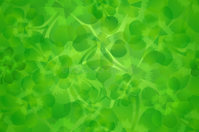 Green four leaf clover / shamrock seamless pattern background stock images