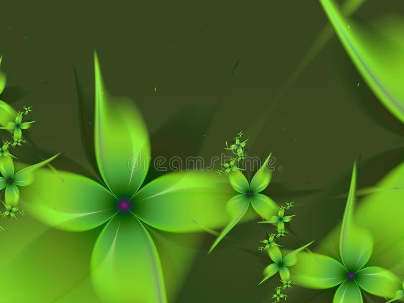 Green fractal background with fantasy flowers. stock illustration