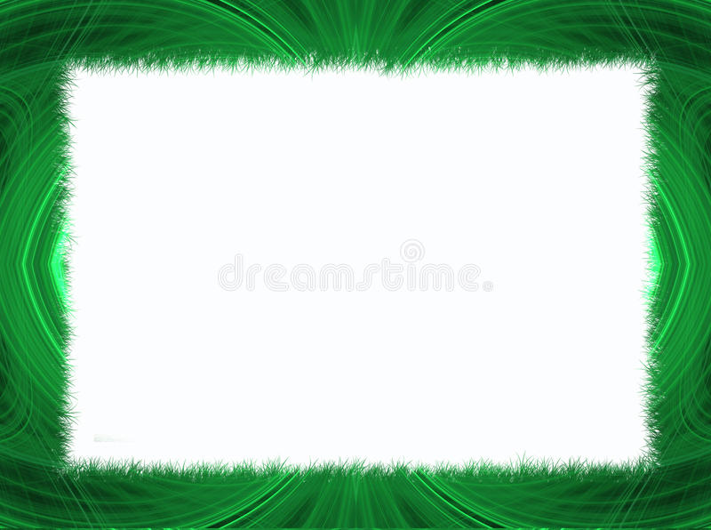 Green Fractal Border with White Copy Space stock images
