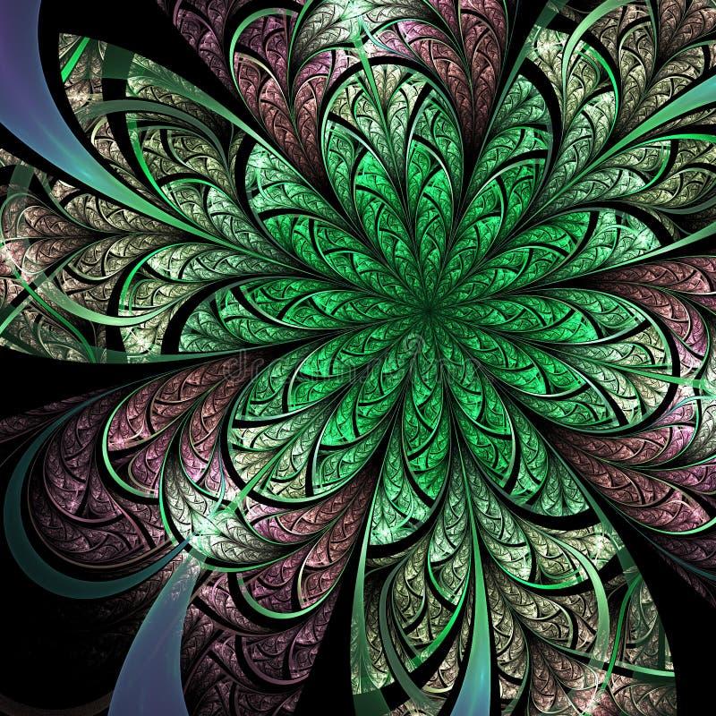 Green fractal flower. Digital artwork for creative graphic design stock illustration