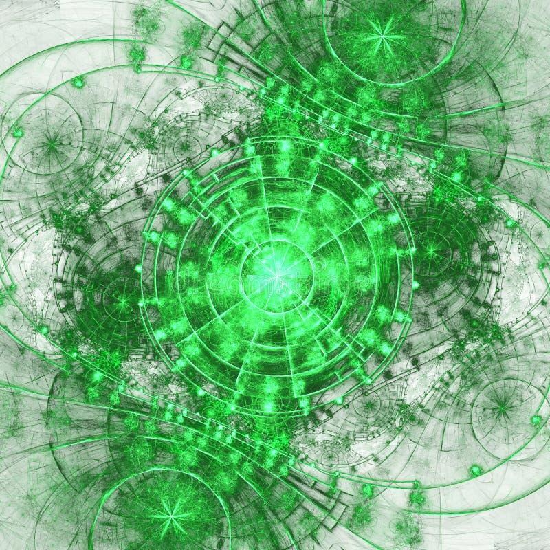 Green fractal gears. Digital artwork for creative graphic design stock illustration
