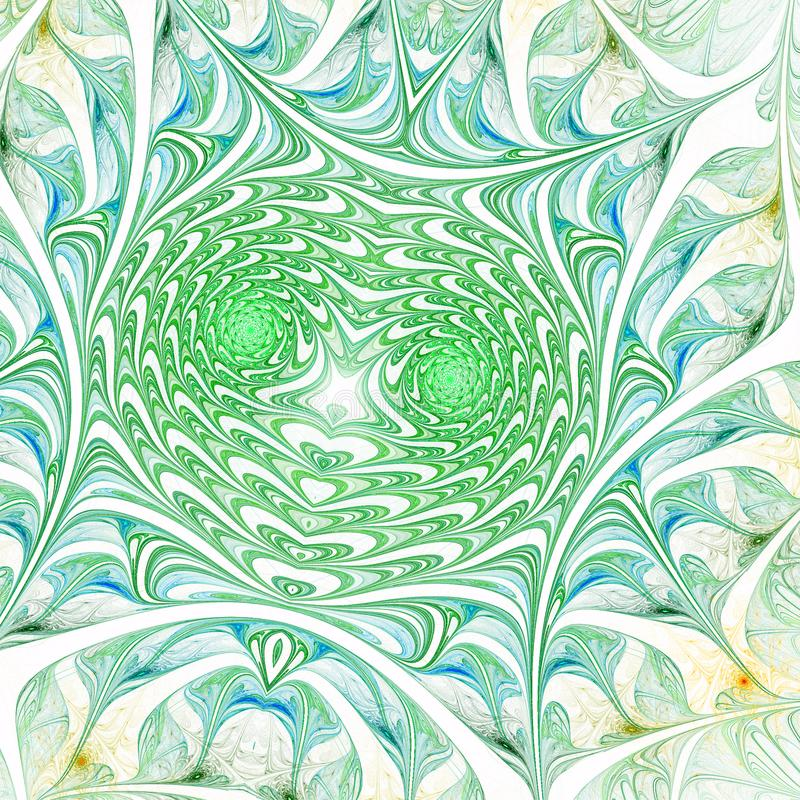 Green fractal swirls. Digital artwork for creative graphic design royalty free illustration