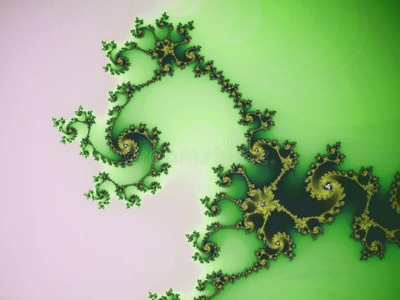 Green fractal swirls. Digital artwork for creative graphic design vector illustration