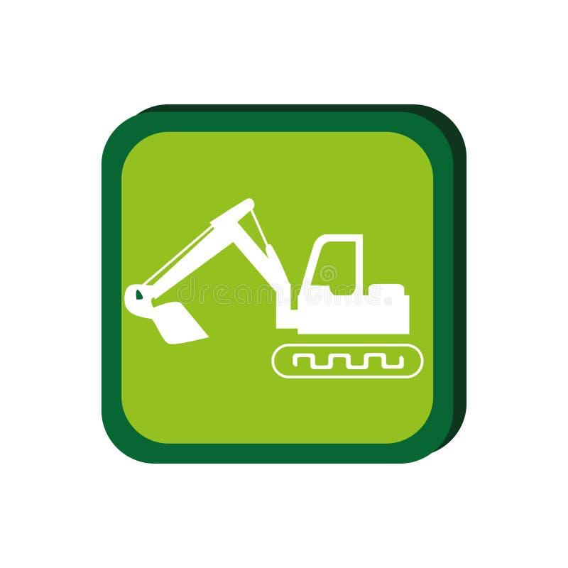 Green frame with backhoe with shovel. Vector illustration royalty free illustration
