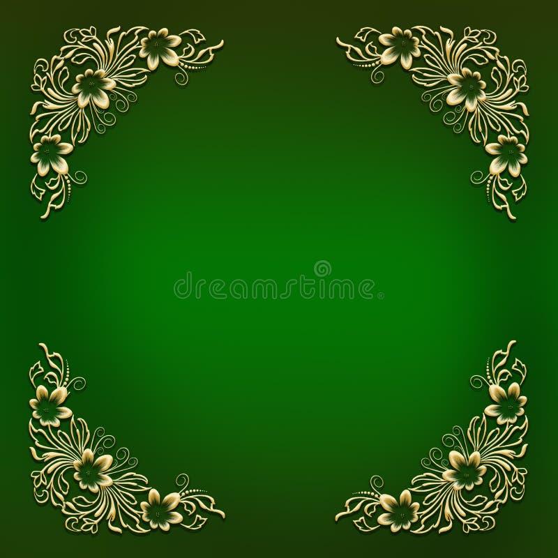 Green frame with golden floral corner ornament stock illustration