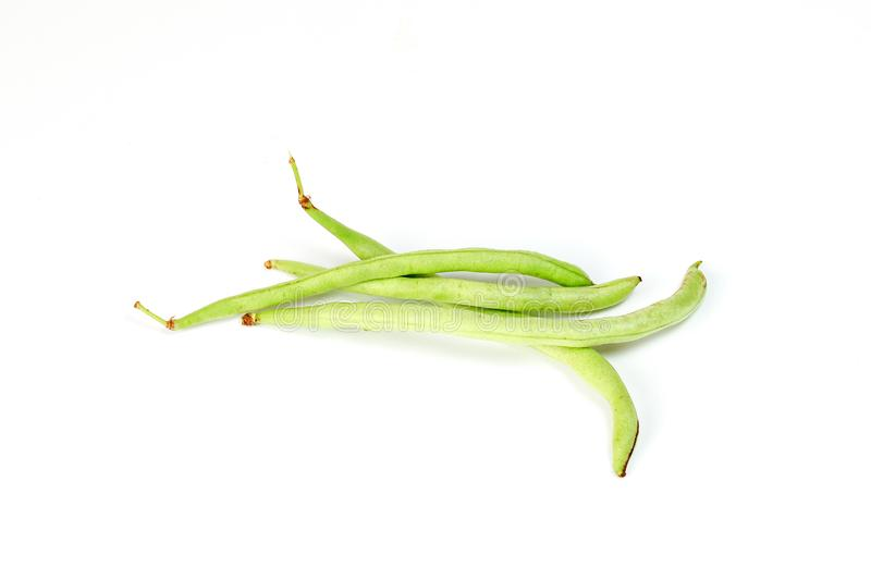 Green French bean. On white background stock photos