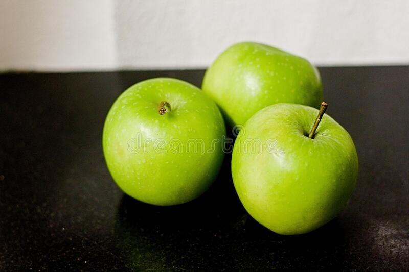 Green Fresh Apples. Close up view stock images
