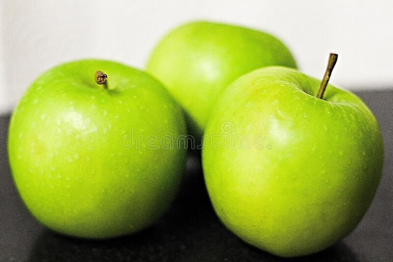 Green Fresh Apples. Close up view royalty free stock images