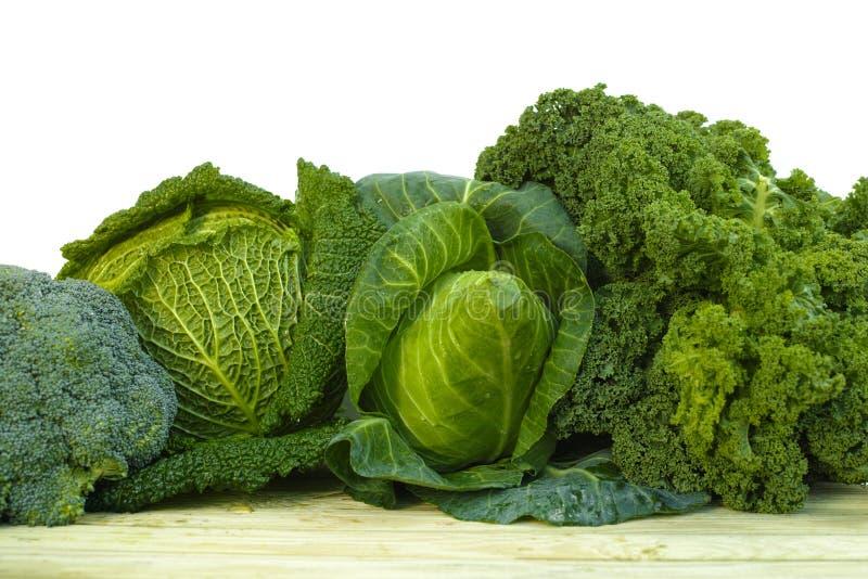Green fresh organic market vegetables on white background royalty free stock image