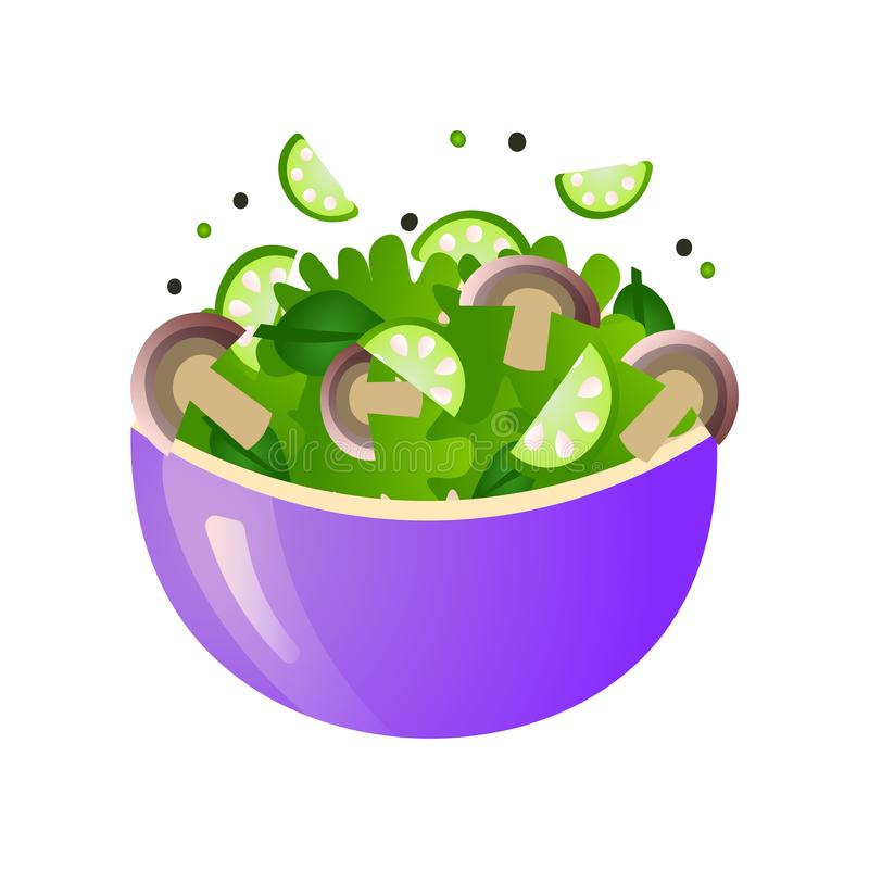 Green fresh salad of their various tasty vegetables in color bowls. royalty free illustration