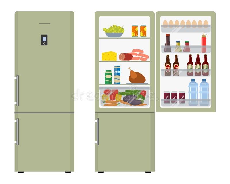 Green fridge with open doors, a full of food. Vector flat illustration vector illustration