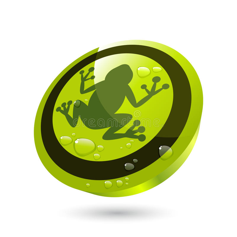 Green frog button. Illustration of frog on circular green button with drops of water, isolated on white background stock illustration
