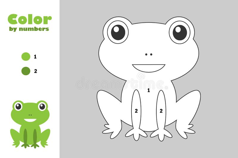 Green frog in cartoon style, color by number, education paper game for the development of children, coloring page, kids preschool stock illustration