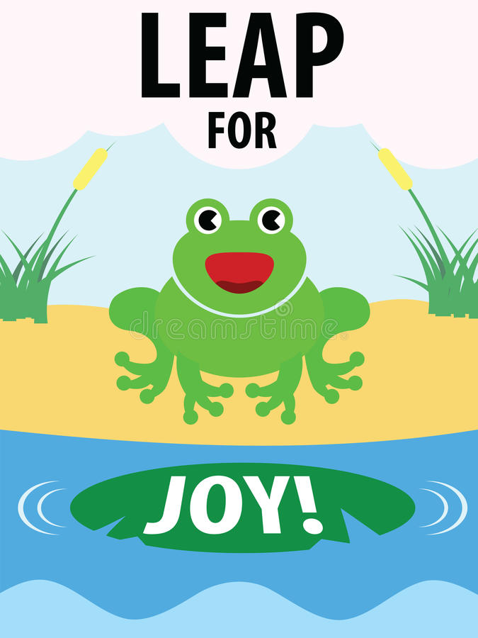 Green Frog Leap For Joy Illustration. A happy green frog going to leap for joy vector illustration