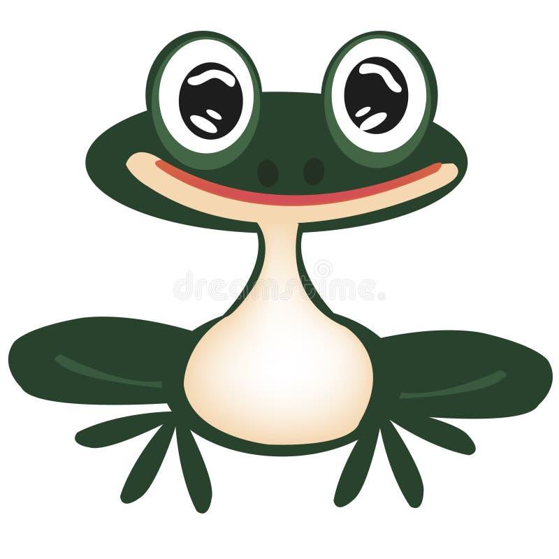 Green frog on white vector illustration
