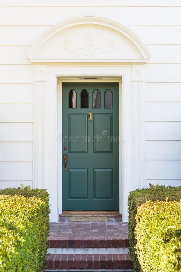 Green Front Door In Home With Green Bushes Stock Photo Image - Green front door