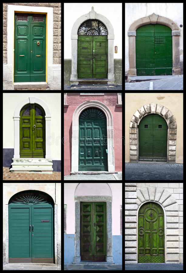 Green Front Doors - Tuscany Royalty Free Stock Images