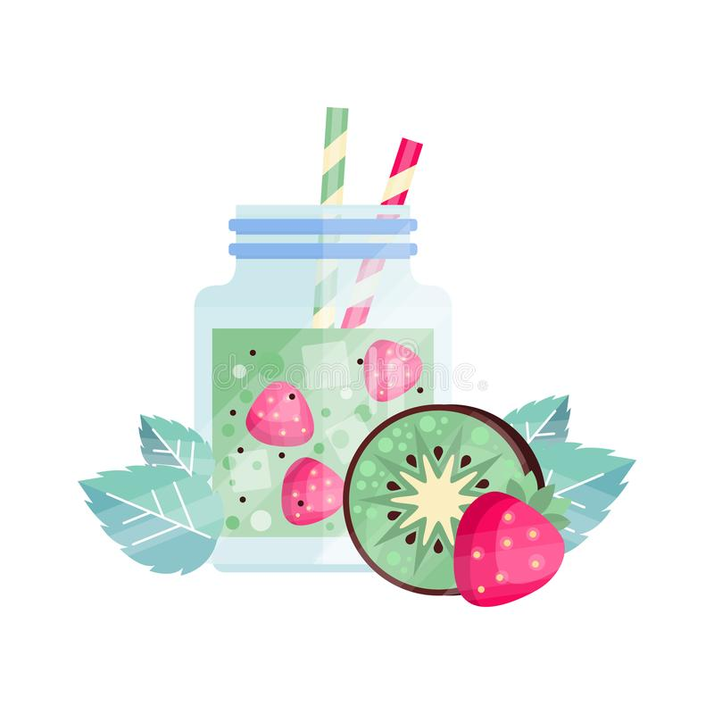 Fruit cocktail with kiwi and strawberry. Glass jar of refreshing vegetarian drink. Organic and healthy smoothie with vector illustration