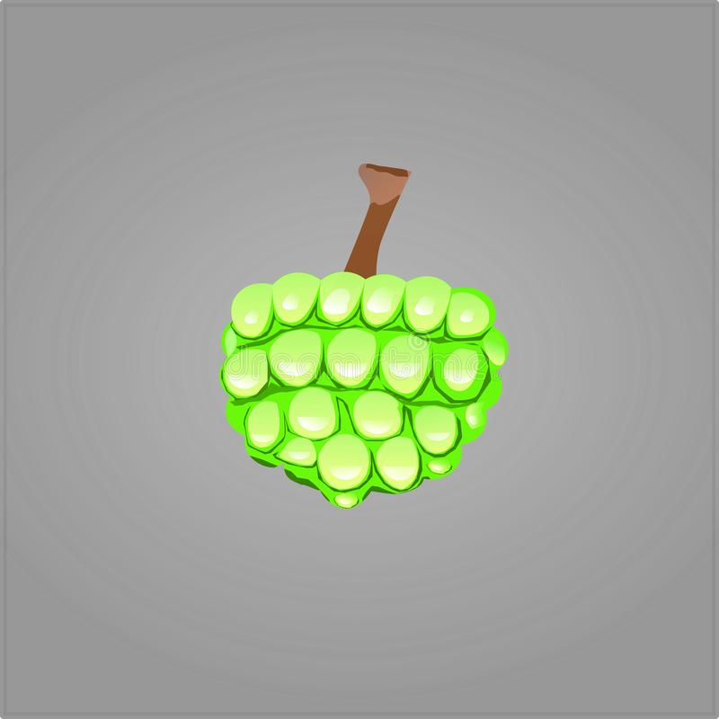 Green fruit Flat design. Abstract icon concept. Raster illustration. vector royalty free illustration