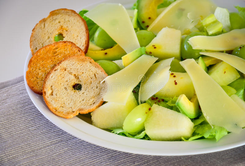 Green fruit salad royalty free stock photo