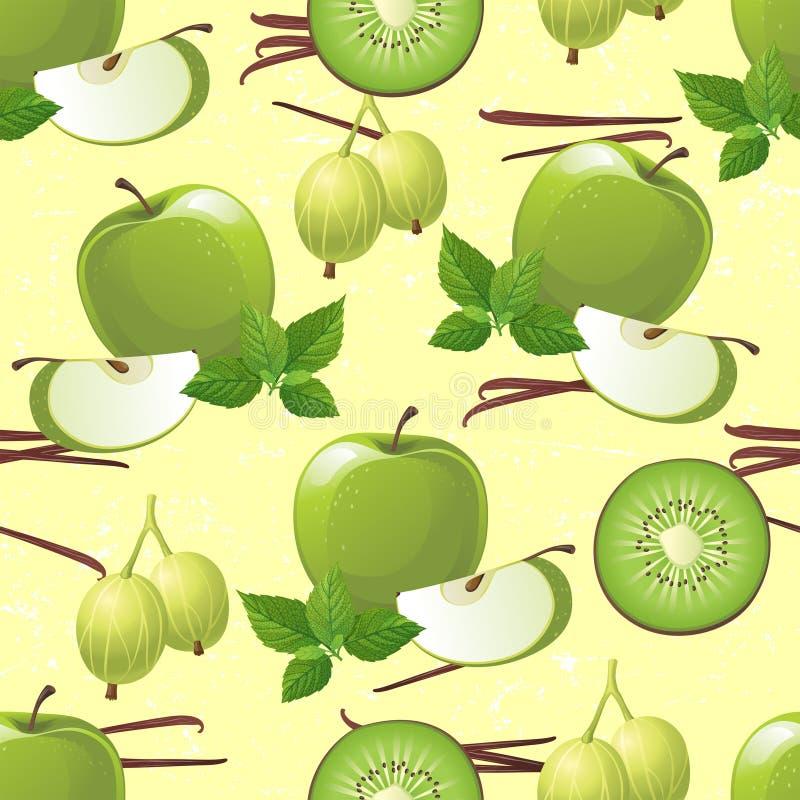 Green fruits seamless vector illustration
