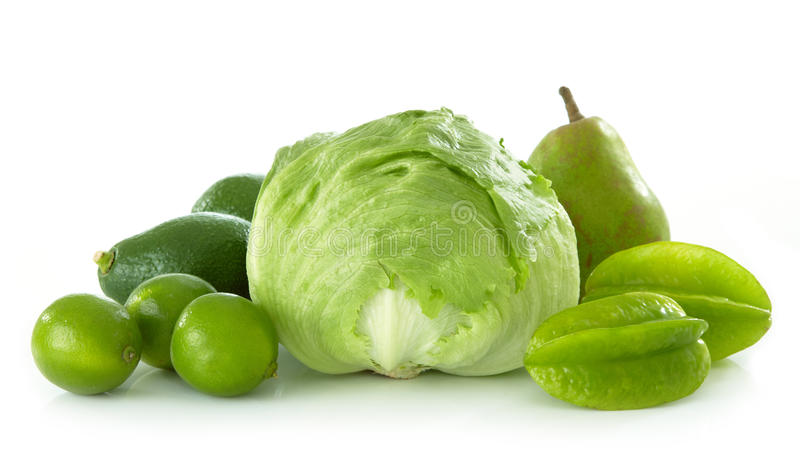 Green fruits and vegetables royalty free stock photo