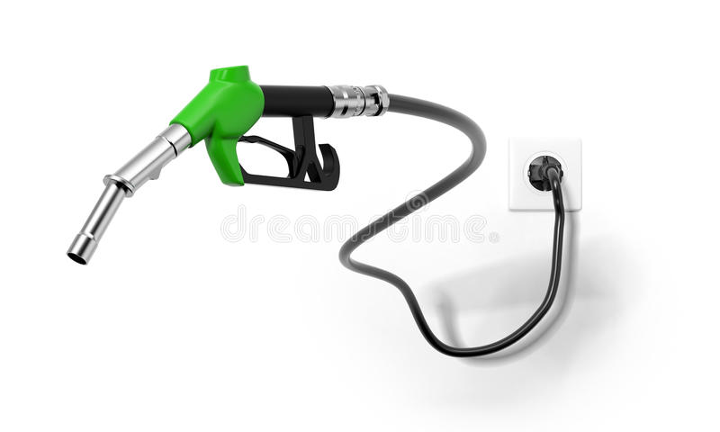 A green fuel nozzle from electrical outlet vector illustration