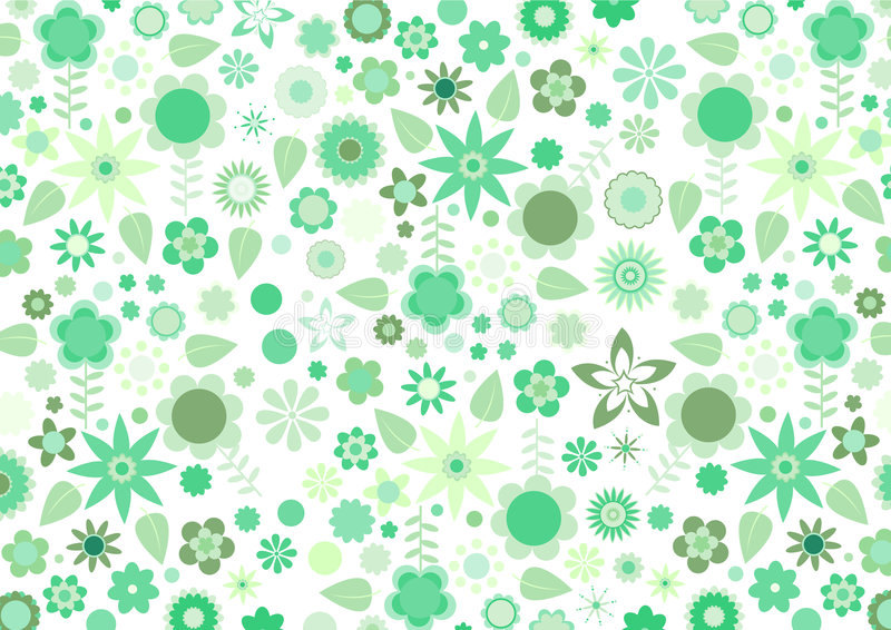 Green funky flowers and leaves retro pattern. Vector illustration of green funky flowers and leaves retro pattern on white background royalty free illustration