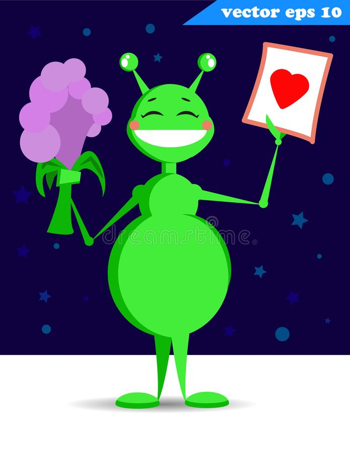 Green funny cartoon style alien with sturry sky vector illustration