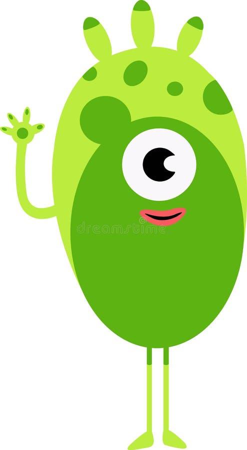 Green funny happy cartoon monster. Green vector alien character. royalty free illustration