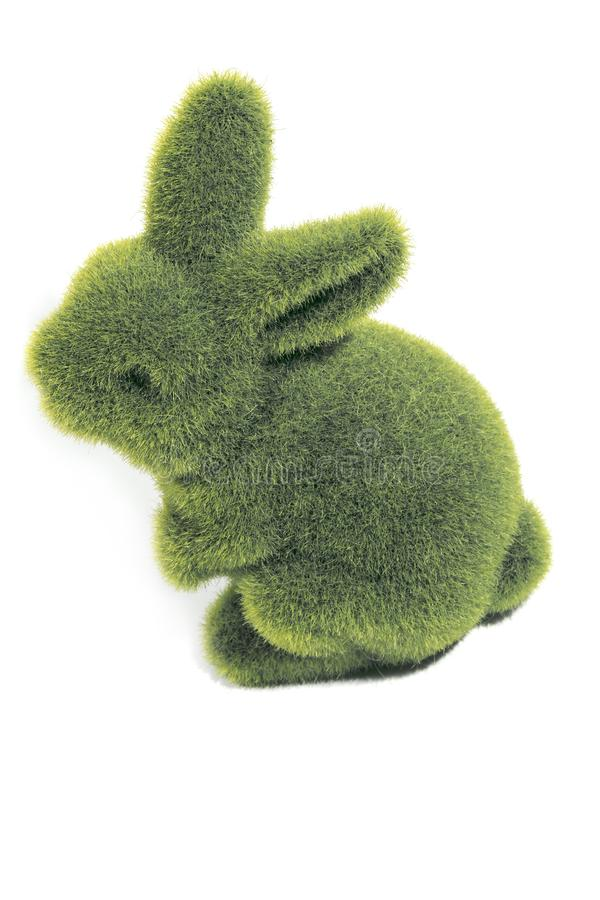 Green furry easter bunny`s stock photos