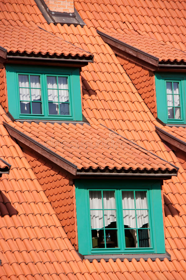 Green gables red tile roof