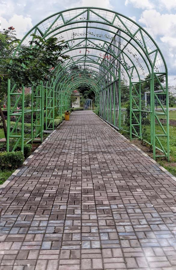 Green garden gate stock photography