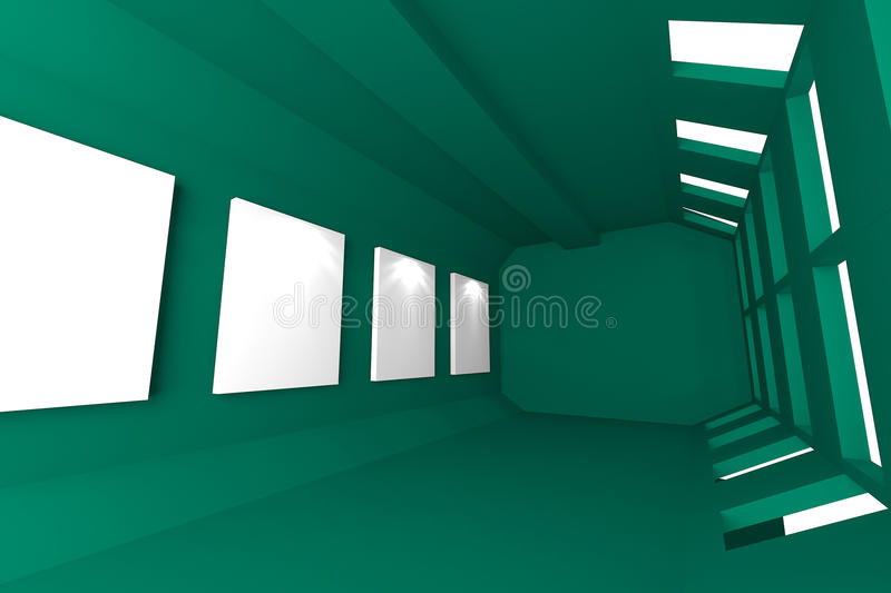 Download Green Gallery Abstract Interior Stock Illustration - Illustration: 32439704