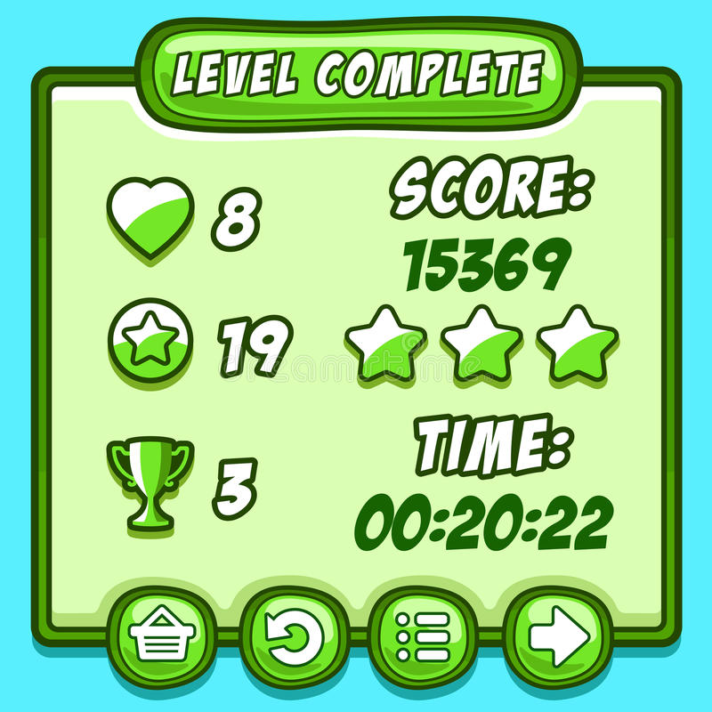 Green game level complete icons buttons. Game green level complete icons buttons ui vector illustration