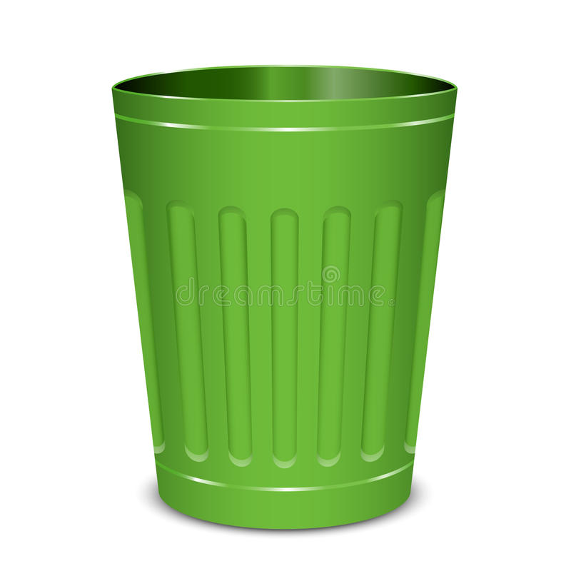 Green garbage can. Vector illustration of green garbage can stock illustration