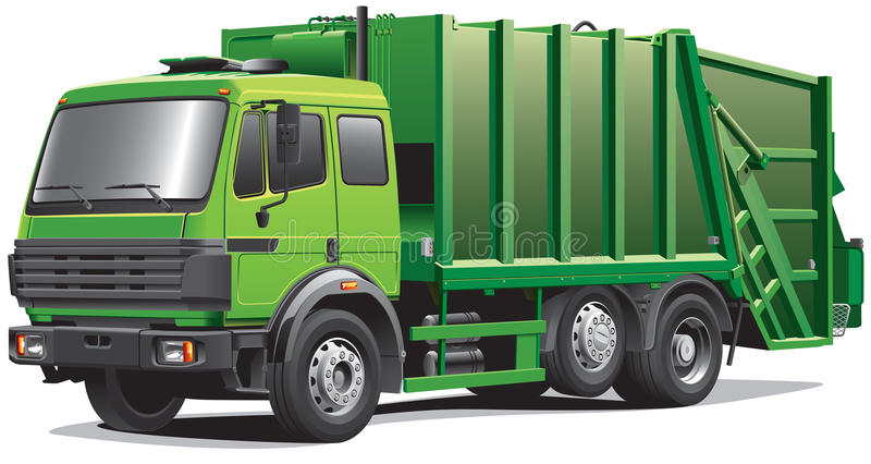 Green garbage truck royalty free illustration