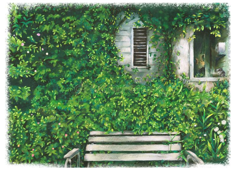 Green garden with bench , flowers , window art illustration.Beautiful nature outdoor.nature landscape park. Art of home garden.Bench with nature view stock photo