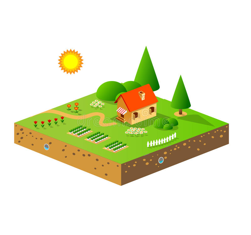 Download Green garden and house stock illustration. Image of countryside - 20393241