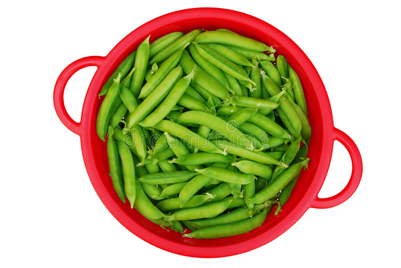 Download Green Garden Peas In Red Colander Stock Photo - Image: 14449708