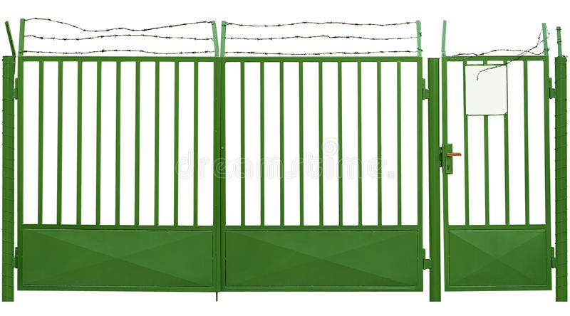 Green gate with barbed wire royalty free illustration