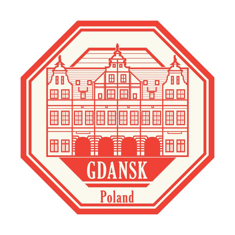 Green Gate building in Gdansk old town. Abstract rubber stamp with Green Gate building in Gdansk old town, Poland inside, vector illustration stock illustration