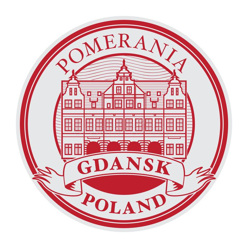 Green Gate building in Gdansk old town. Abstract rubber stamp with Green Gate building in Gdansk old town, Poland inside, vector illustration royalty free illustration